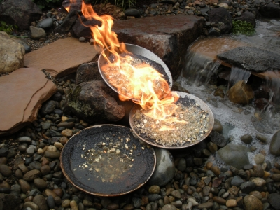 Custom metal bowls with fireglass